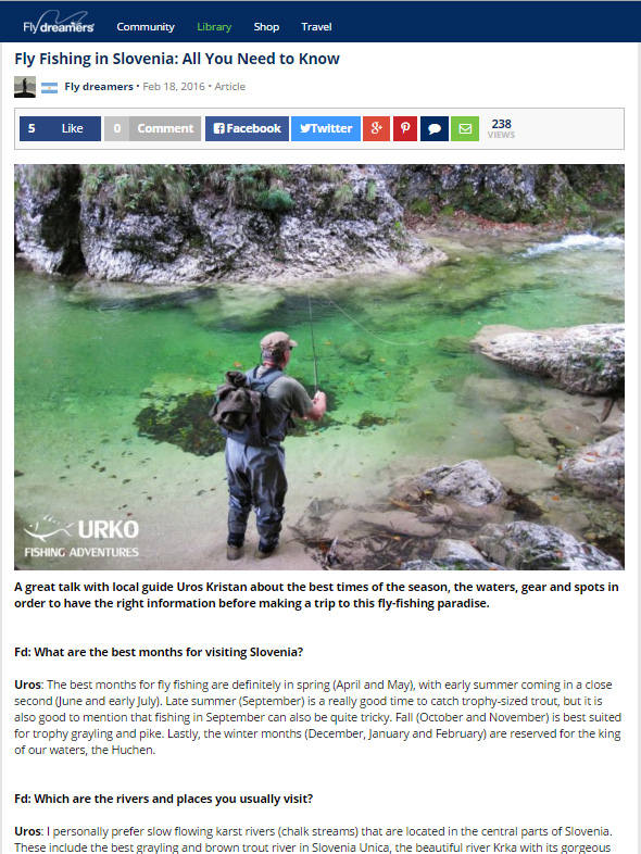 Urko Fishing Adventures Angling Service Fly Fishing Fly Dreamers Slovenia
